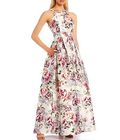 Eliza J Floral Brocade Halter Neck Sleeveless Mikado Ball Gown