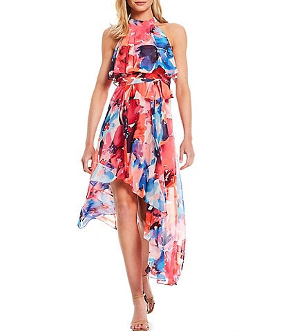 Eliza J Floral Chiffon Pop Over Hi-Low Dress