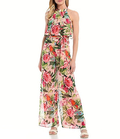 Eliza J Floral Chiffon Sleeveless Tiered Popover Jumpsuit
