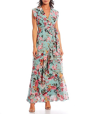 Eliza J Floral Faux Wrap Cap Sleeve Ruffle Maxi Dress