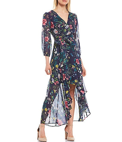 Eliza J Floral Faux Wrap Midi Dress