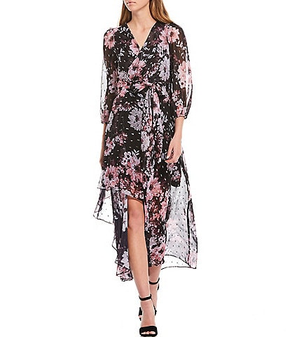 Eliza J Floral Metallic Clip Dot Chiffon Faux Wrap Dress