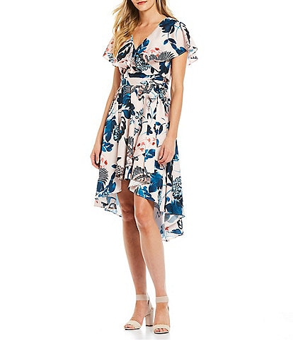 Eliza J Floral Print Flutter Sleeve Faux Wrap Hi-Low Hammered Satin Dress