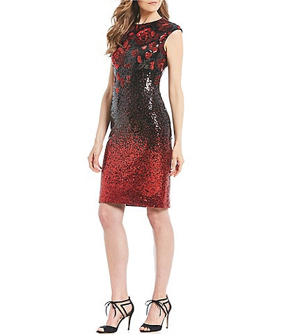 Eliza J Floral Print Metallic Sequin Ombre Sheath Dress