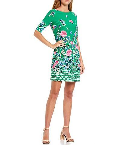 Eliza J Floral Stretch Jersey Shift Dress