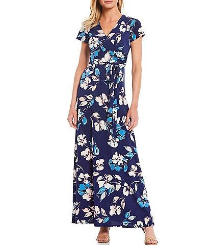 Eliza J Floral Wrap V-Neck Short Sleeve Stretch Jersey Maxi Dress