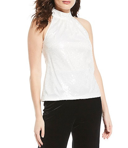 Eliza J Halter Allover Sequin Mock Neck Top