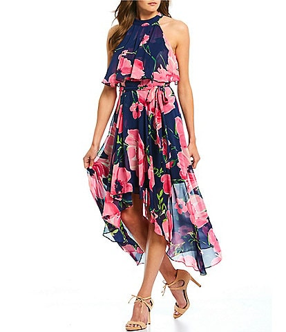 Eliza J Halter Neck Floral Print Hi-Low Chiffon Dress