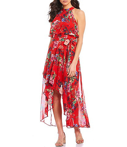 Eliza J Halter Neck Pop Over Tie Waist Floral Print Chiffon Hi-Low Dress