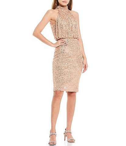 Eliza J Halter Neck Sequin Blouson Knee Length Dress