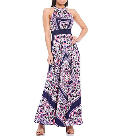 Eliza J Halter Neck Sleeveless Scarf Print Crepe de Chine Maxi Dress