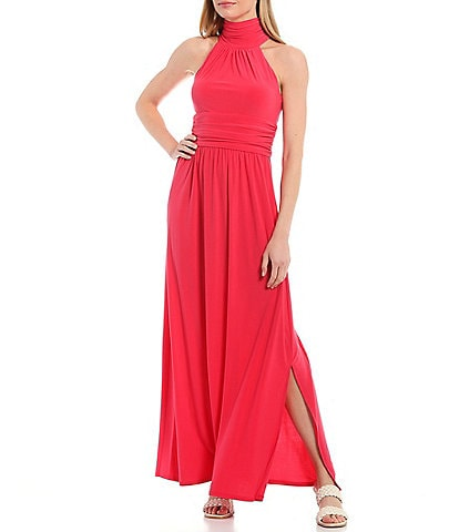 Eliza J Halter Sleeveless Jersey Maxi Dress