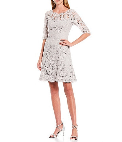 Eliza J Illusion Elbow Sleeve Lace Fit & Flare Dress