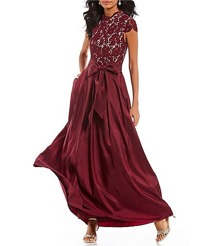 Eliza J Illusion Lace Bodice Tie Waist Ball Gown