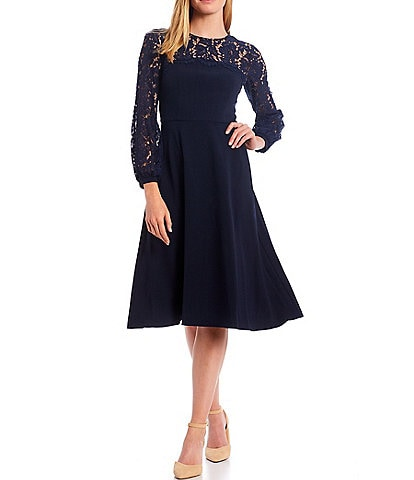 Eliza J Illusion Lace Sleeve Fit & Flare Long Sleeve Midi Dress