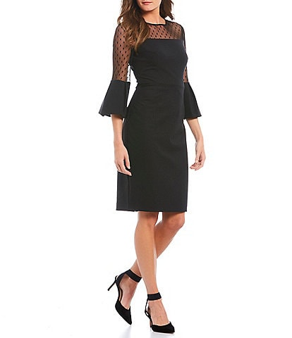 Eliza J Illusion Mesh Yoke Bell Sleeve Sheath Dress