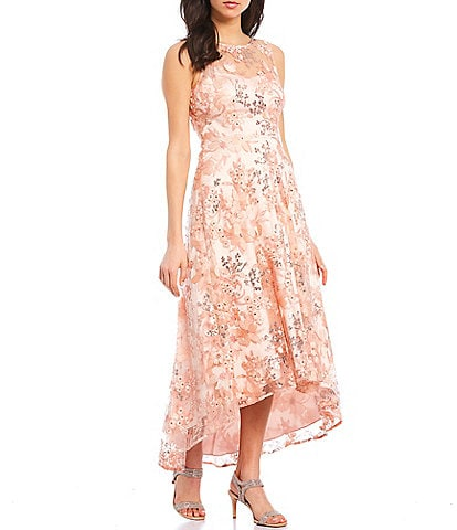 Eliza J Illusion Neck Sleeveless Embroidered Floral Hi-Low Party Dress