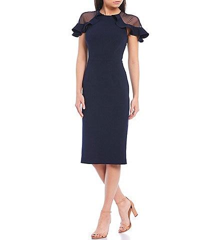 Eliza J Illusion Sleeve Ruffle Detail Scuba Crepe Sheath Dress