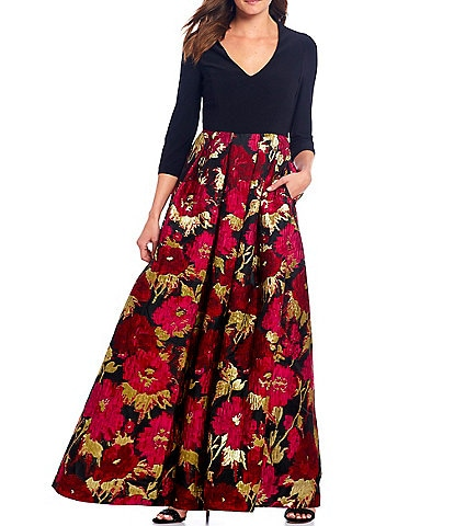 Eliza J Jacquard Floral Print Ballgown With Pockets