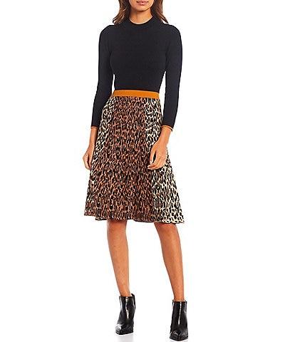 Eliza J Jacquard Leopard Mock Neck 3/4 Sleeve Knit Bodice Sweater Dress