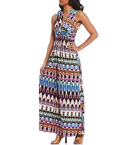 Eliza J Jersey Tie Dye Twist Front Sleeveless Maxi Dress