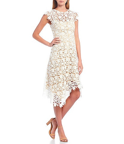 Eliza J Lace Cap Sleeve Asymmetrical Hem Dress