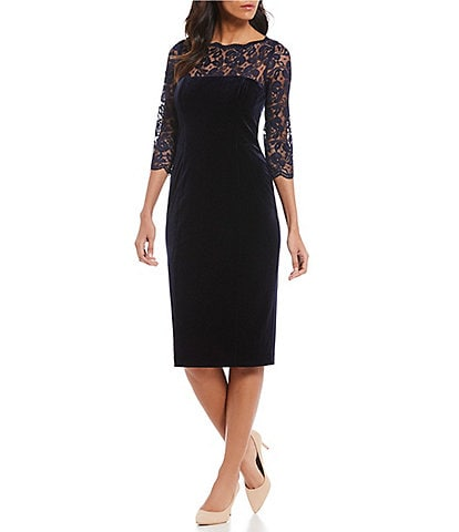 Eliza J Lace Illusion Lace Yoke Velvet Sheath Midi Dress