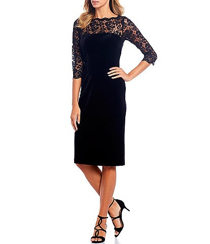 Eliza J Lace Yoke Velvet Scalloped Boat Neck Trim Sheath Dress