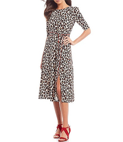 Eliza J Leopard Printed Self Tie Front Slit Midi A-Line Dress
