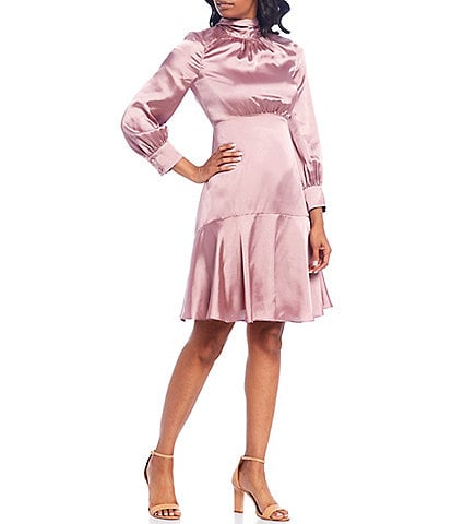 Eliza J 3/4 Sleeve Back Tie Ruffle Hem Satin Dress