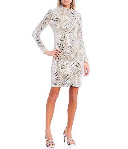 Eliza J Long Sleeve Geometric Sequin Mesh Sheath Dress