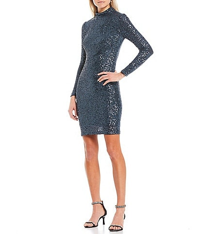 Eliza J Long Sleeve Mock Neck Sequin Mesh Sheath Dress