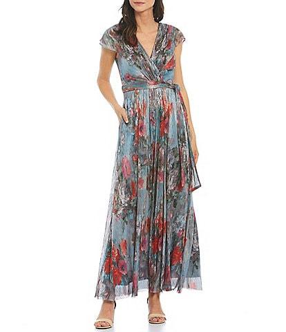 Eliza J Metallic Floral Pleated Cap Sleeve V-Neck A-Line Dress
