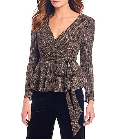 Eliza J Metallic Foil Faux Wrap Peplum Top