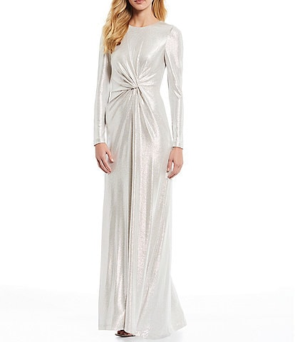 Eliza J Metallic Long Sleeve Knot Front Gown