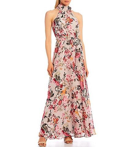 Eliza J Mock Neck Floral Chiffon Sleeveless Maxi Dress
