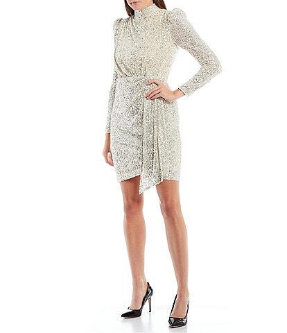 Eliza J Mock Neck Long Puff Sleeve Sequin Mini Dress