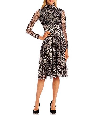 Eliza J Mock Neck Long Sleeve Animal Print Ruched Waist Mesh A-Line Dress