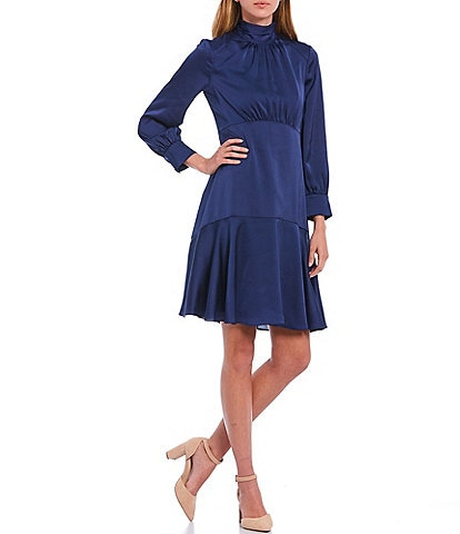 Eliza J Mock Neck Long Sleeve Hammered Satin Flounce Hem Dress