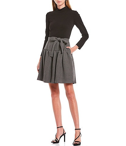 Eliza J Mock Neck Long Sleeve Tie Waist Ponte Tweed Drop Waist Dress