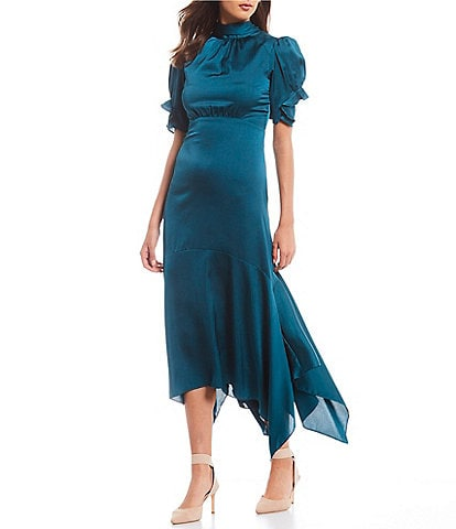 Eliza J Mock Neck Puff Sleeve Satin Asymmetric Hem Midi Dress