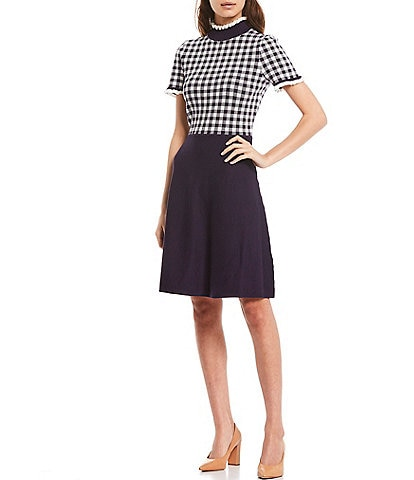 Eliza J Mock Neck Short Sleeve Gingham Print Ruffle Trim Detail Bodice Dress
