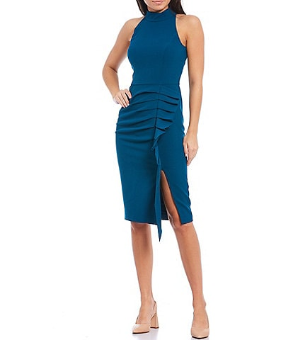 Eliza J Mock Neck Sleeveless Side Ruffle Stretch Crepe Sheath Dress