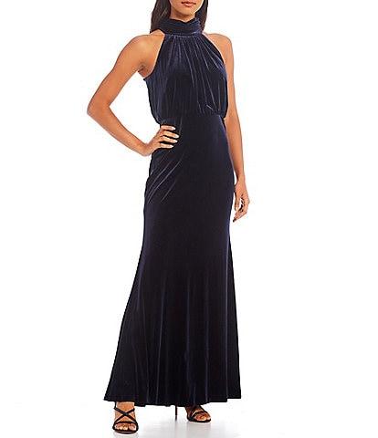 Eliza J Mock Neck Sleeveless Velvet Blouson Gown