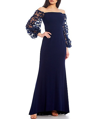Eliza J Off-The-Shoulder 3D Fleur Applique Scuba Crepe Gown