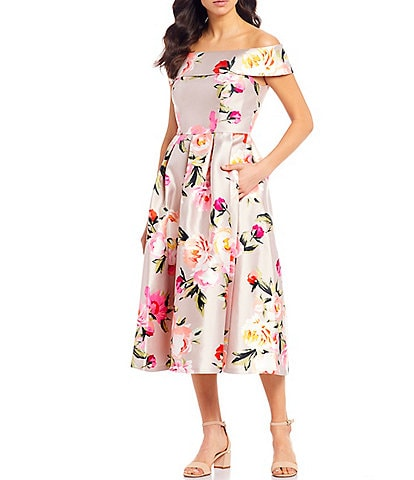 Eliza J Off-The-Shoulder Cap Sleeve Floral Print Mikado Tea Length Dress