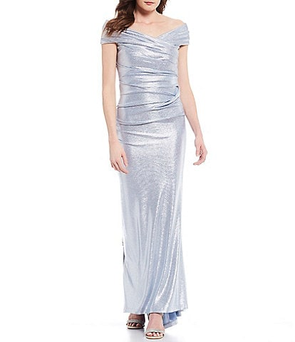 Eliza J Off-the-Shoulder Cap Sleeve Ruched Metallic Gown