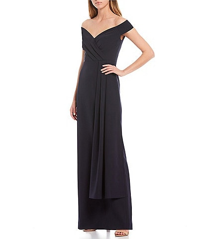 Eliza J Off-The-Shoulder Crepe Gown