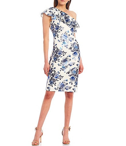 Eliza J One Shoulder Floral Ruffle Scuba Sheath Dress