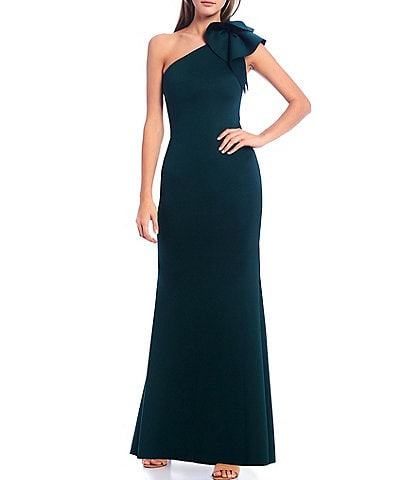 Eliza J One Shoulder Rosette Trumpet Gown